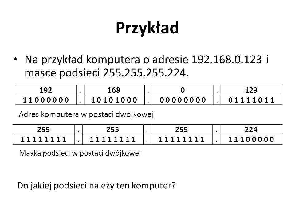Przykład Na przykład komputera o adresie 192.168.0.123 i masce podsieci 255.255.255.224. 192. . 168.