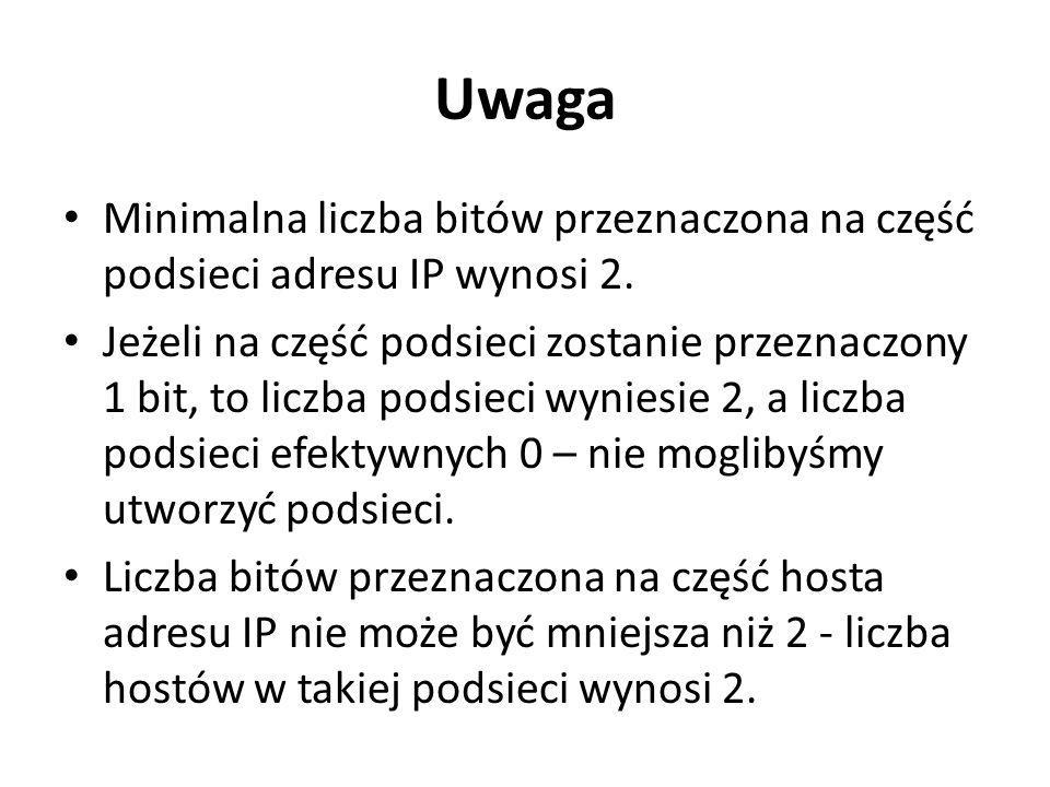 Uwaga Minimalna liczba bitów przeznaczona na część podsieci adresu IP wynosi 2.