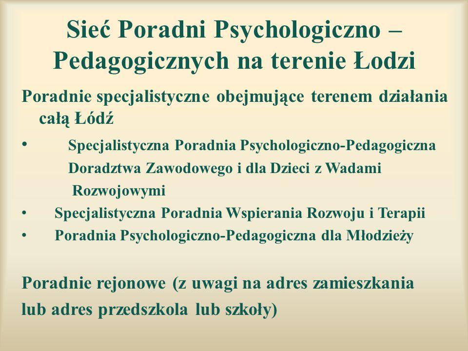 Sieć Poradni Psychologiczno – Pedagogicznych na terenie Łodzi
