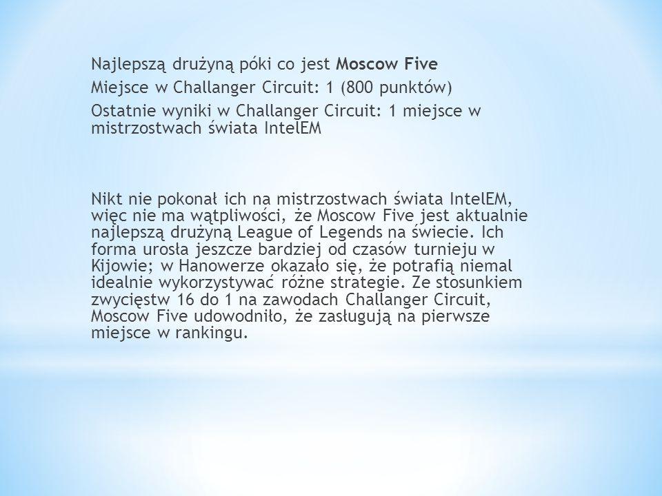 Najlepszą drużyną póki co jest Moscow Five Miejsce w Challanger Circuit: 1 (800 punktów) Ostatnie wyniki w Challanger Circuit: 1 miejsce w mistrzostwach świata IntelEM Nikt nie pokonał ich na mistrzostwach świata IntelEM, więc nie ma wątpliwości, że Moscow Five jest aktualnie najlepszą drużyną League of Legends na świecie.