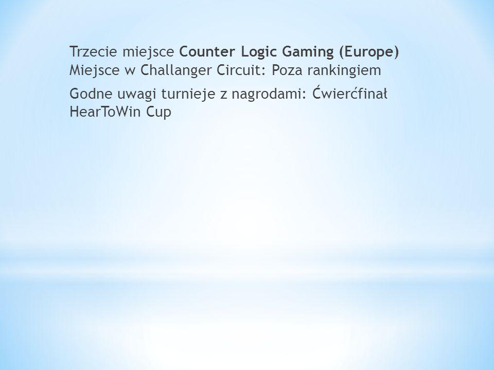 Trzecie miejsce Counter Logic Gaming (Europe) Miejsce w Challanger Circuit: Poza rankingiem Godne uwagi turnieje z nagrodami: Ćwierćfinał HearToWin Cup
