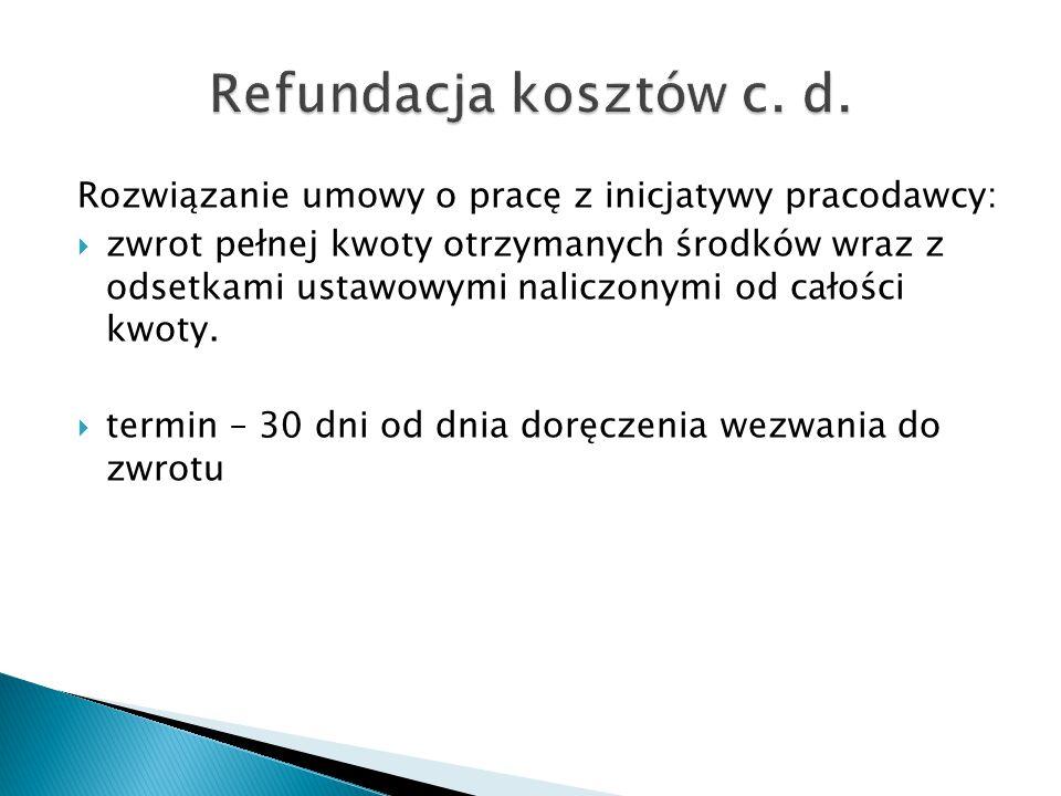 Refundacja kosztów c. d. Rozwiązanie umowy o pracę z inicjatywy pracodawcy: