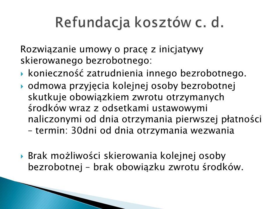 Refundacja kosztów c. d. Rozwiązanie umowy o pracę z inicjatywy skierowanego bezrobotnego: konieczność zatrudnienia innego bezrobotnego.