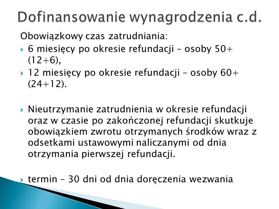 Dofinansowanie wynagrodzenia c.d.