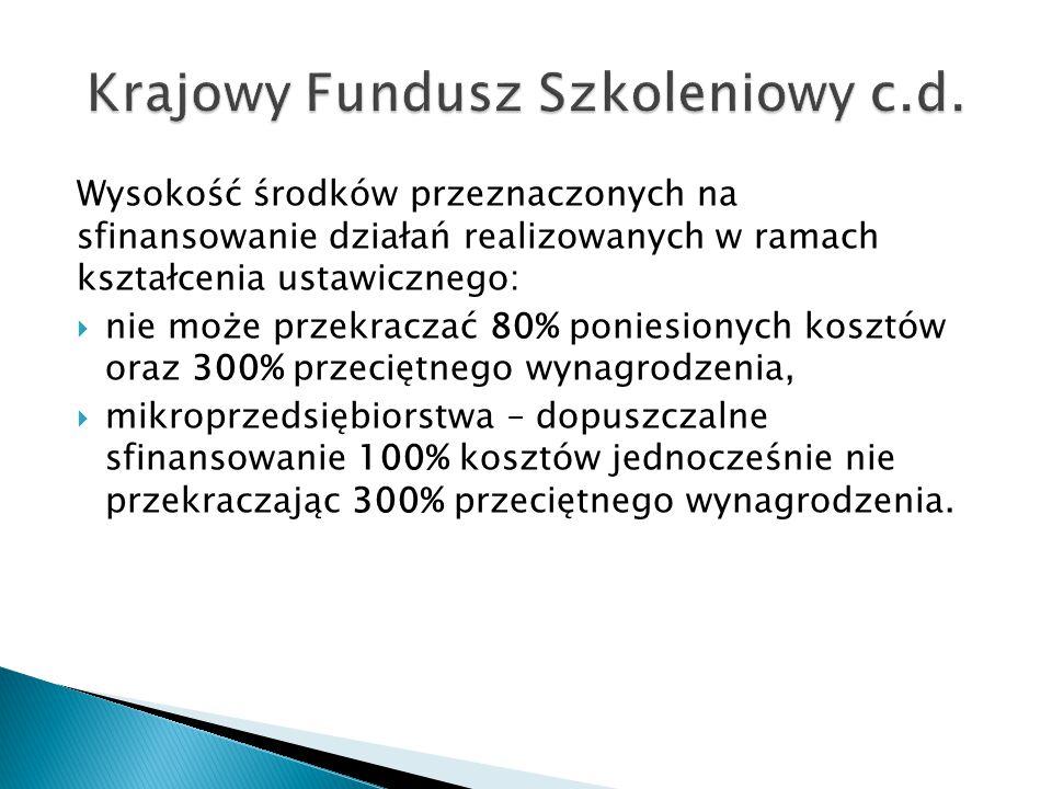 Krajowy Fundusz Szkoleniowy c.d.