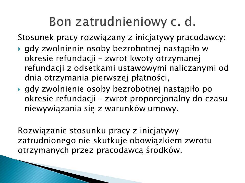 Bon zatrudnieniowy c. d. Stosunek pracy rozwiązany z inicjatywy pracodawcy: