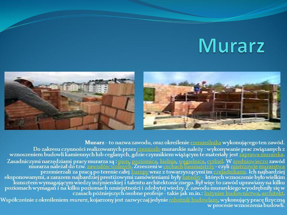Murarz Murarz - to nazwa zawodu, oraz określenie rzemieślnika wykonującego ten zawód.