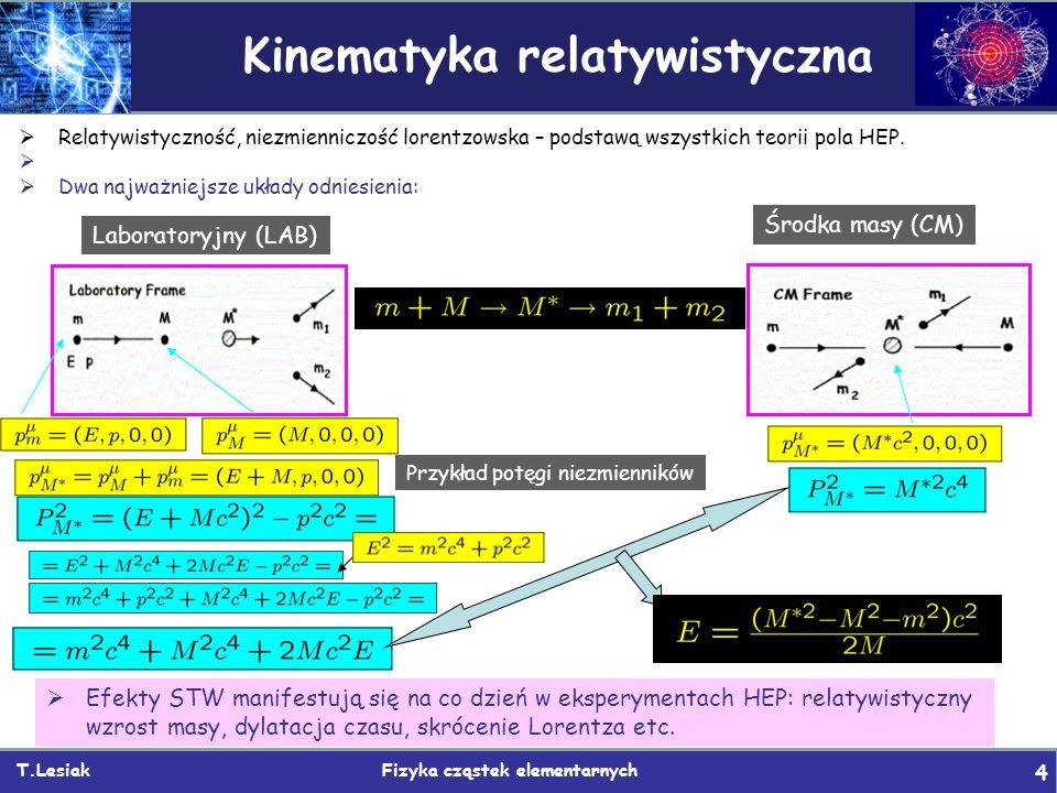 Kinematyka relatywistyczna T.Lesiak Fizyka cząstek elementarnych