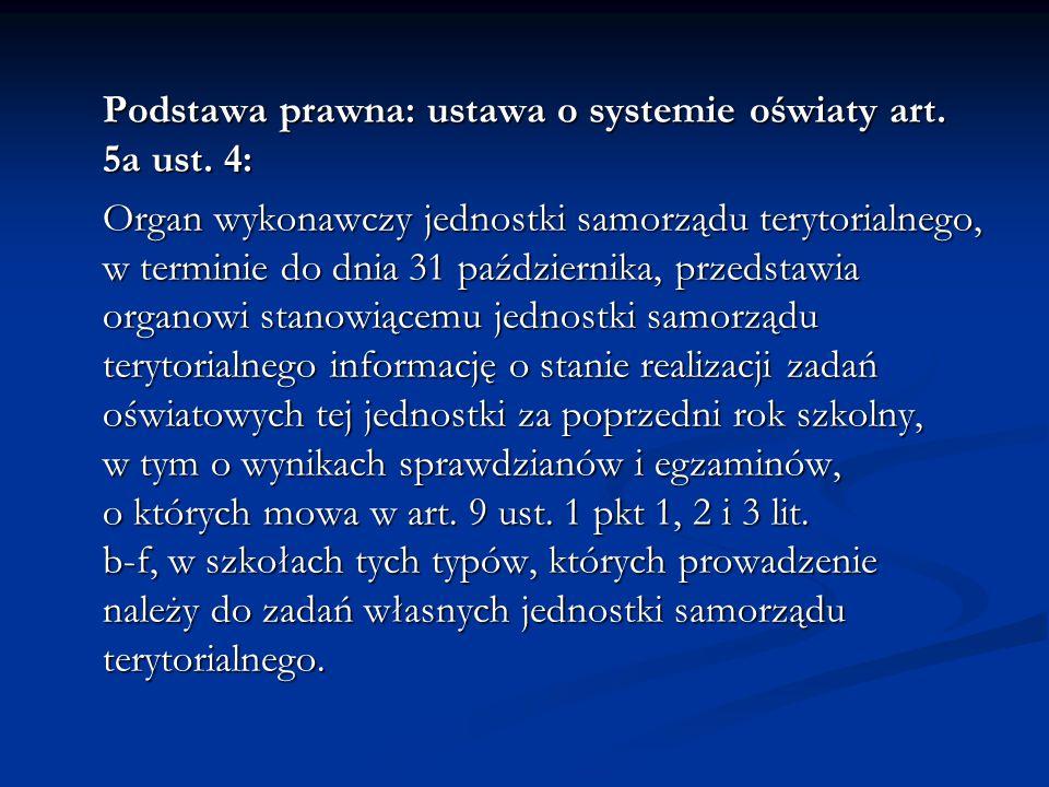 Podstawa prawna: ustawa o systemie oświaty art. 5a ust. 4: