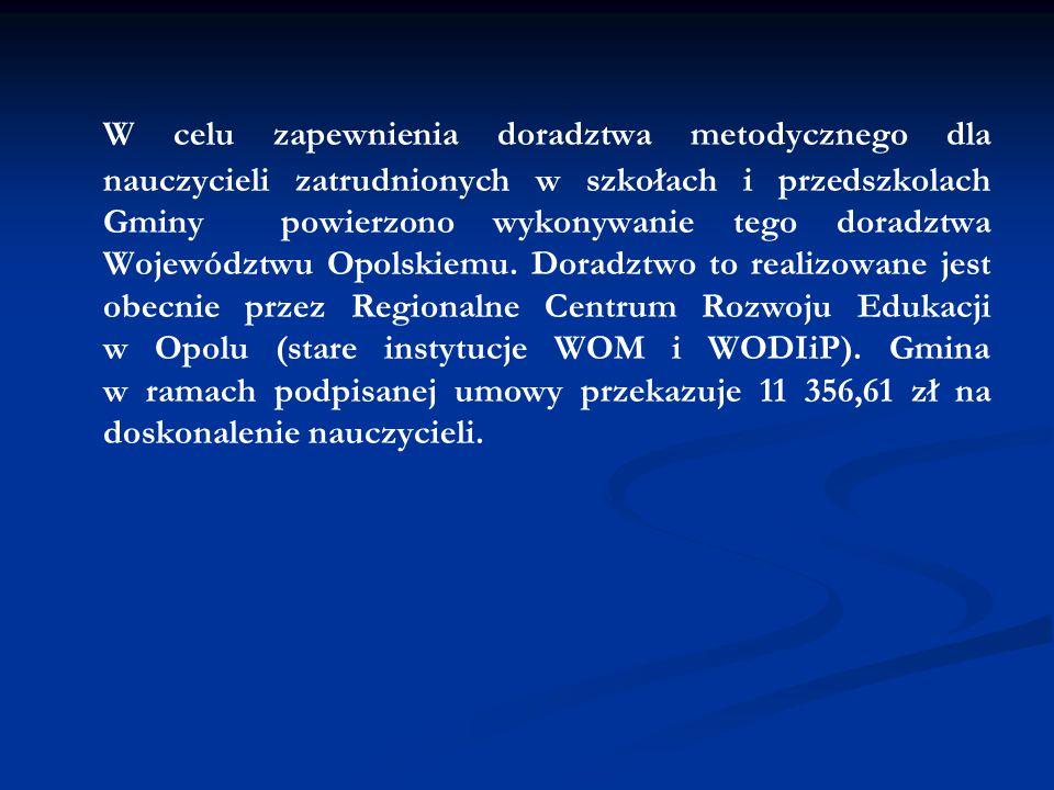 W celu zapewnienia doradztwa metodycznego dla nauczycieli zatrudnionych w szkołach i przedszkolach Gminy powierzono wykonywanie tego doradztwa Województwu Opolskiemu.