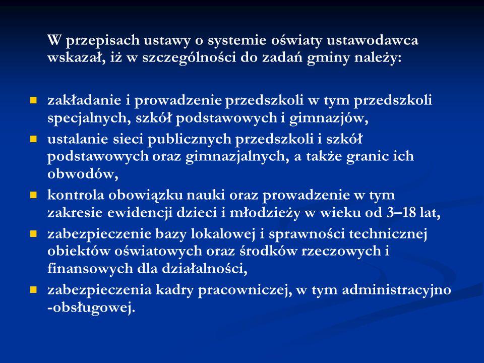 W przepisach ustawy o systemie oświaty ustawodawca wskazał, iż w szczególności do zadań gminy należy: