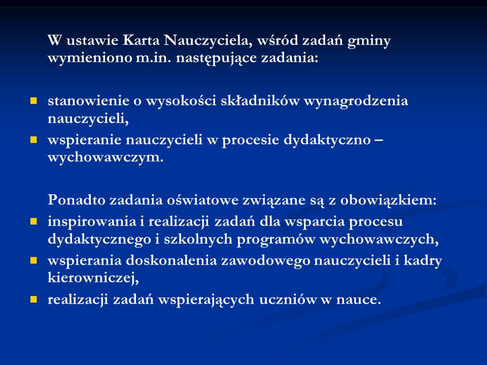 W ustawie Karta Nauczyciela, wśród zadań gminy wymieniono m. in