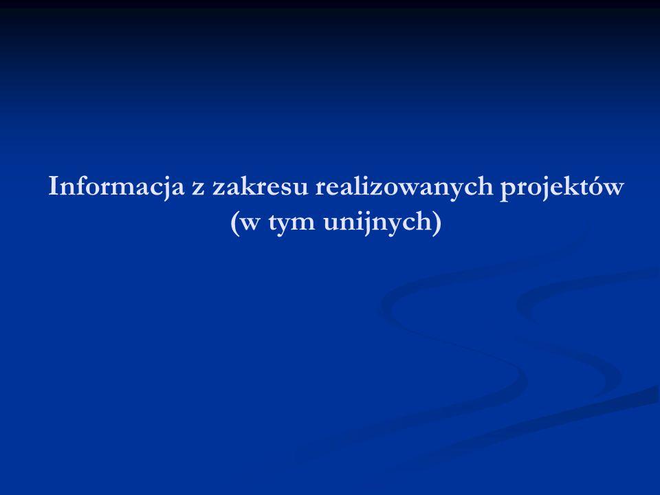 Informacja z zakresu realizowanych projektów (w tym unijnych)