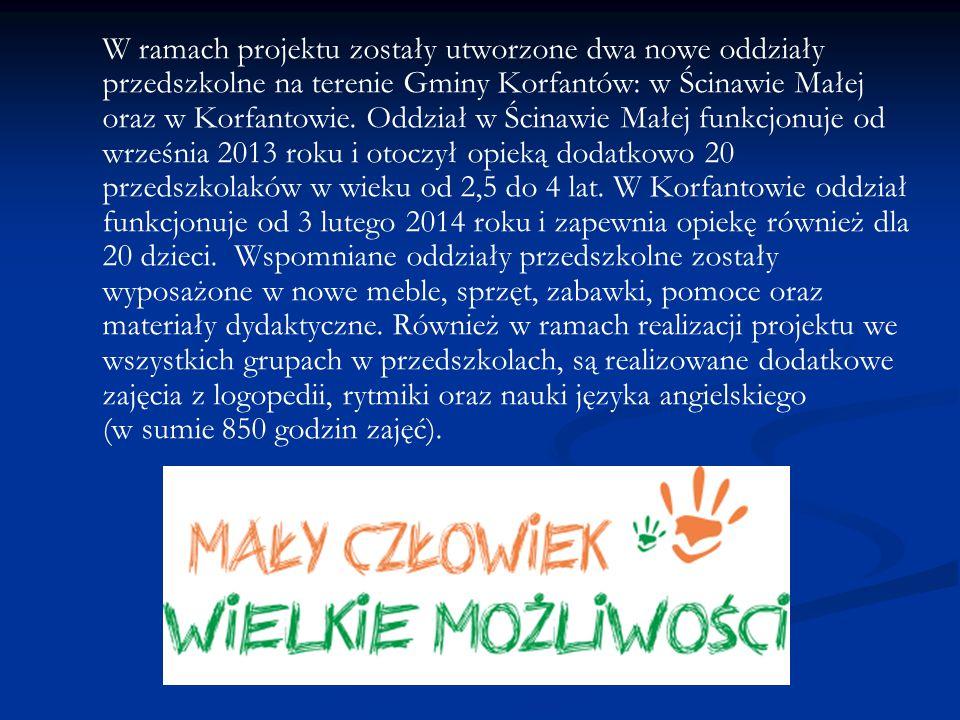 W ramach projektu zostały utworzone dwa nowe oddziały przedszkolne na terenie Gminy Korfantów: w Ścinawie Małej oraz w Korfantowie.