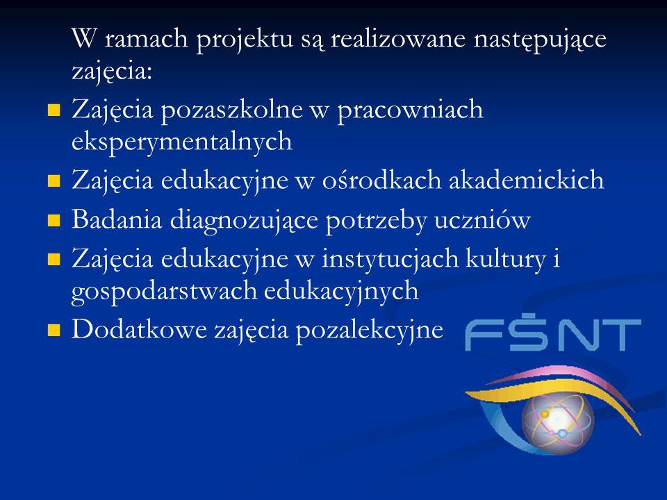 W ramach projektu są realizowane następujące zajęcia: