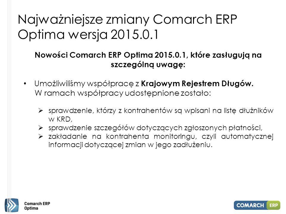 Najważniejsze zmiany Comarch ERP Optima wersja 2015.0.1