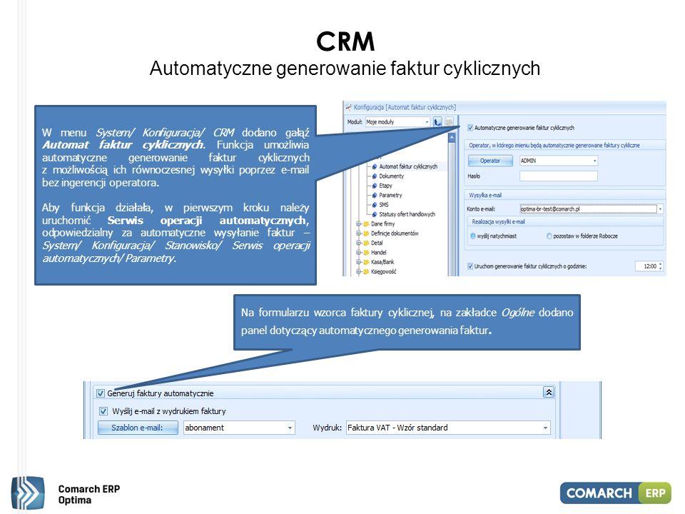 CRM Automatyczne generowanie faktur cyklicznych