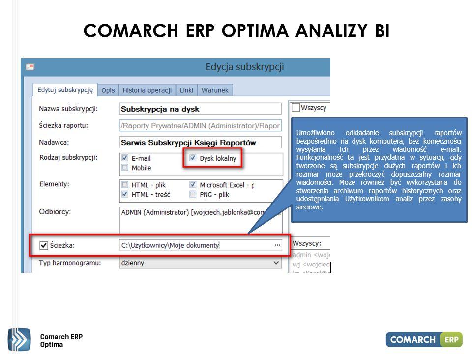 COMARCH ERP OPTIMA ANALIZY BI