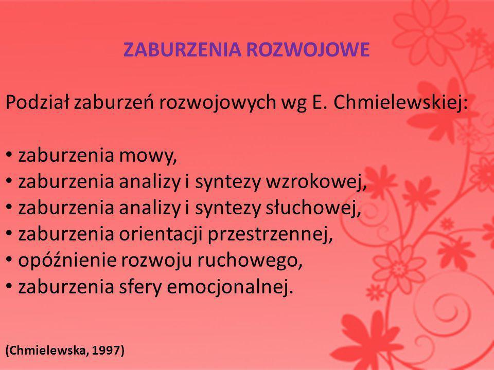 Podział zaburzeń rozwojowych wg E. Chmielewskiej: zaburzenia mowy,