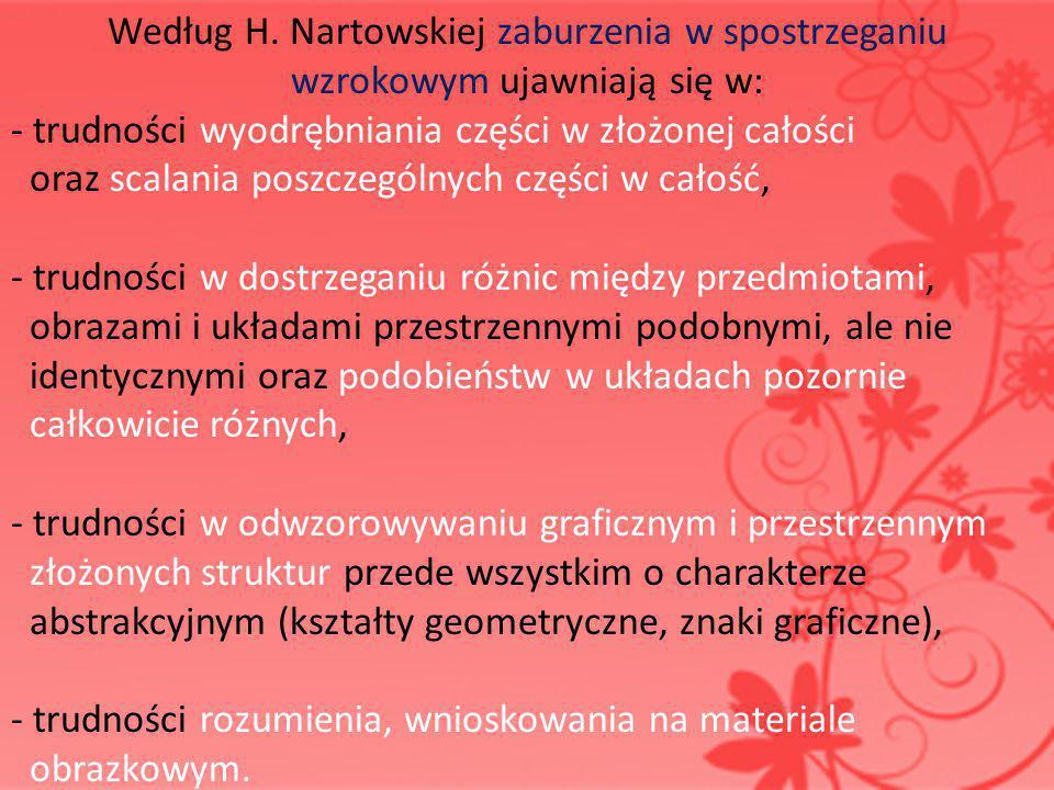 Według H. Nartowskiej zaburzenia w spostrzeganiu wzrokowym ujawniają się w: