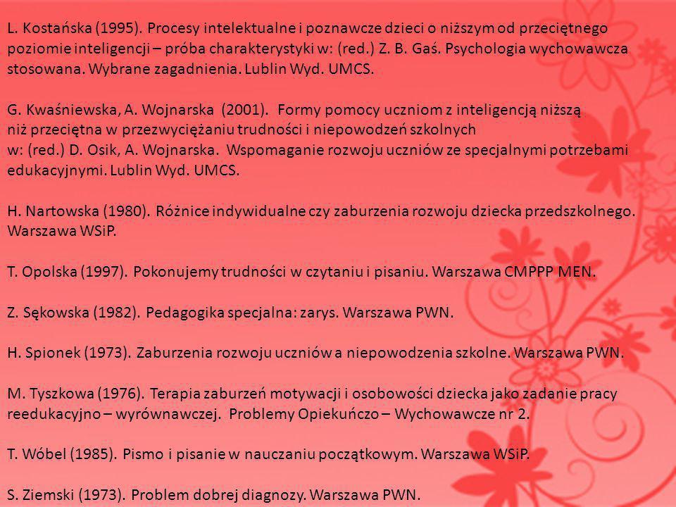 L. Kostańska (1995). Procesy intelektualne i poznawcze dzieci o niższym od przeciętnego poziomie inteligencji – próba charakterystyki w: (red.) Z. B. Gaś. Psychologia wychowawcza stosowana. Wybrane zagadnienia. Lublin Wyd. UMCS.