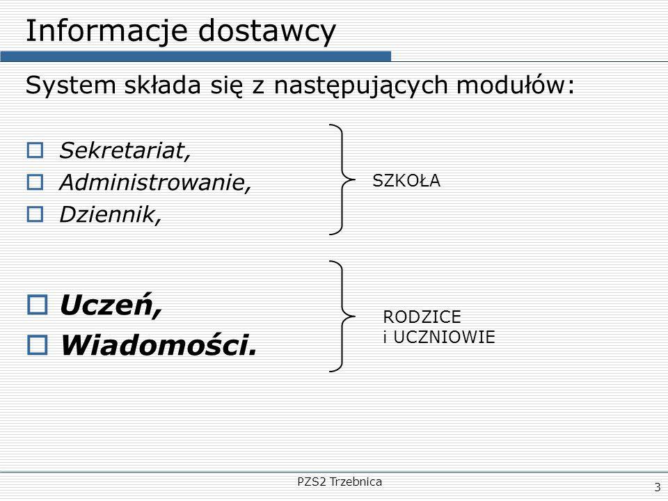 Informacje dostawcy Uczeń, Wiadomości.