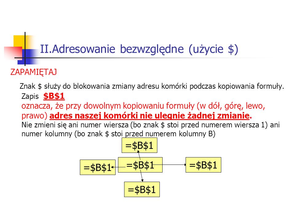 II.Adresowanie bezwzględne (użycie $)