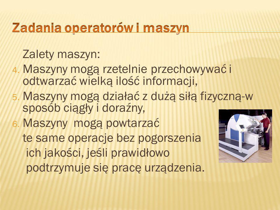 Zadania operatorów i maszyn