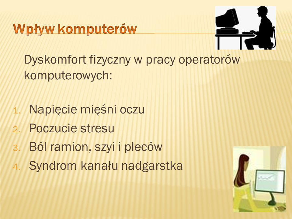 Wpływ komputerów Dyskomfort fizyczny w pracy operatorów komputerowych: