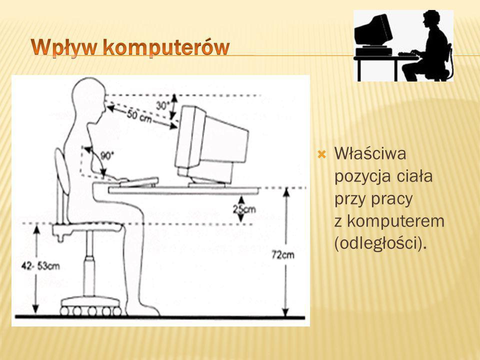 Właściwa pozycja ciała przy pracy z komputerem (odległości).