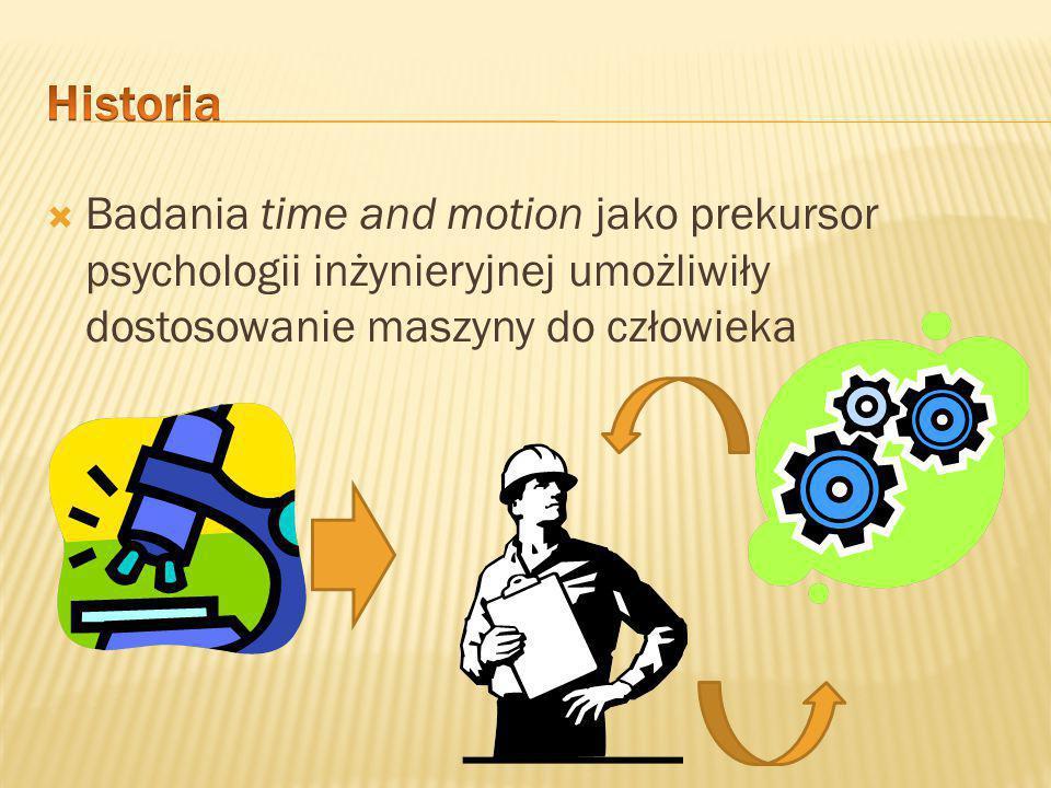 Historia Badania time and motion jako prekursor psychologii inżynieryjnej umożliwiły dostosowanie maszyny do człowieka.