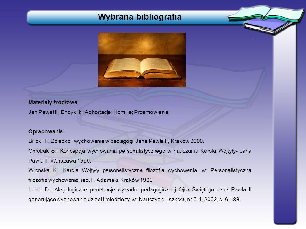 Wybrana bibliografia Materiały źródłowe: