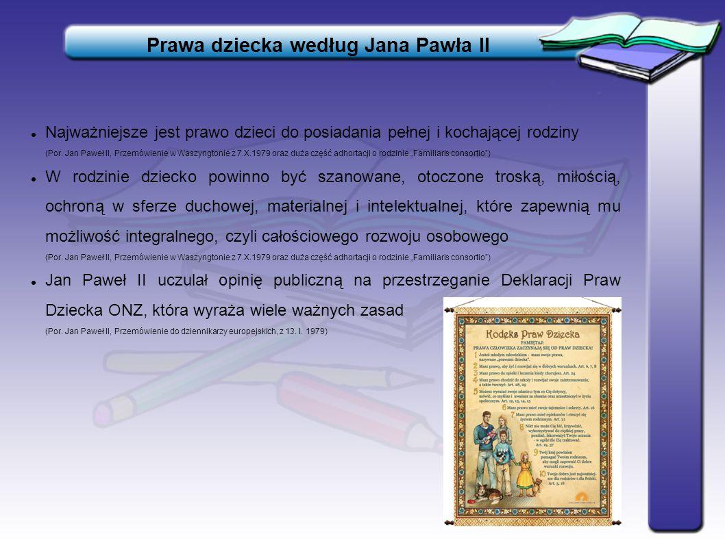 Prawa dziecka według Jana Pawła II