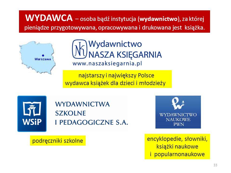 WYDAWCA – osoba bądź instytucja (wydawnictwo), za której pieniądze przygotowywana, opracowywana i drukowana jest książka.