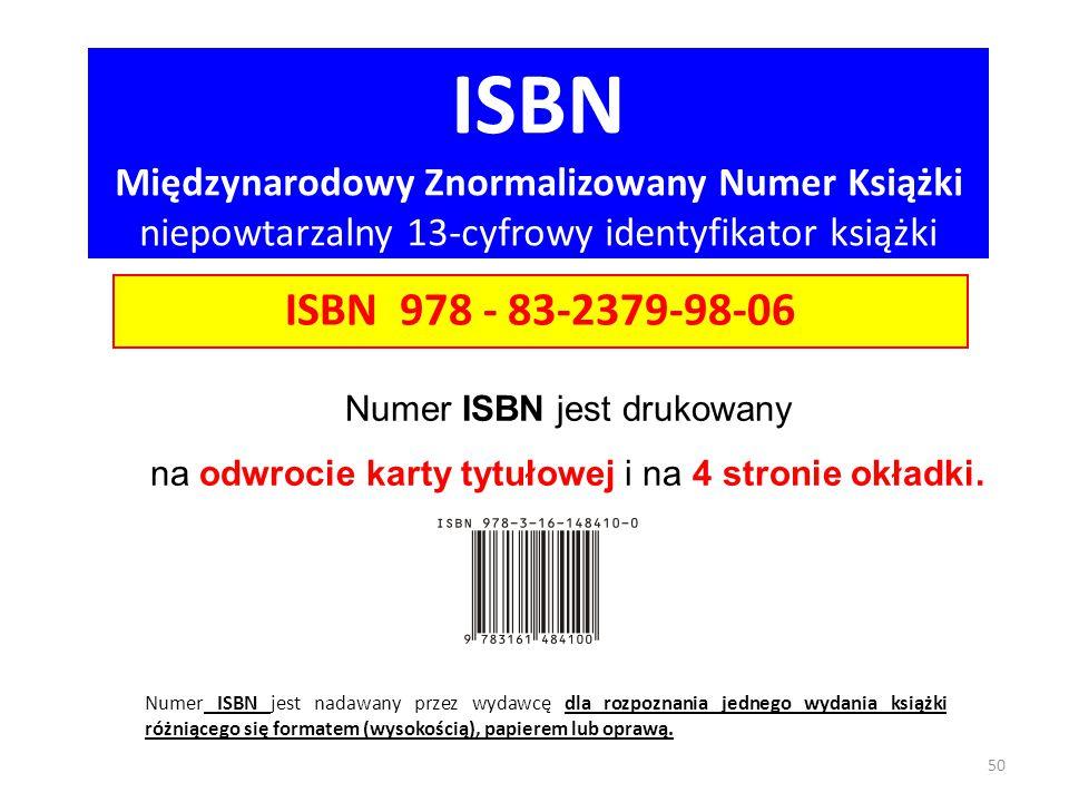 ISBN Międzynarodowy Znormalizowany Numer Książki niepowtarzalny 13-cyfrowy identyfikator książki