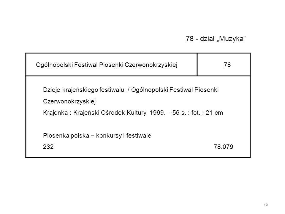 """78 - dział """"Muzyka Ogólnopolski Festiwal Piosenki Czerwonokrzyskiej"""