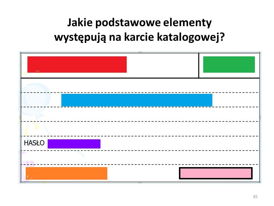 Jakie podstawowe elementy występują na karcie katalogowej