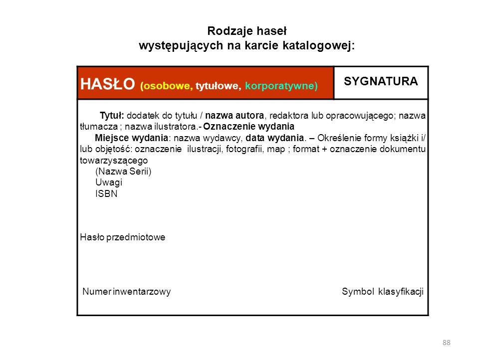 Rodzaje haseł występujących na karcie katalogowej: