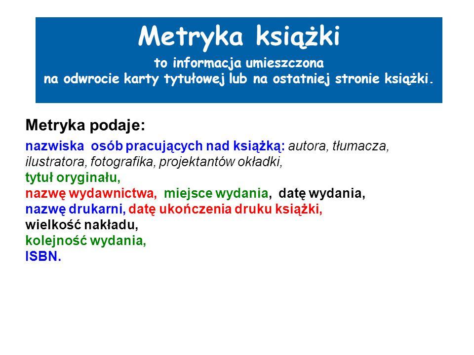 Metryka książki Metryka podaje: