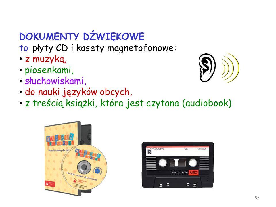 DOKUMENTY DŹWIĘKOWE to płyty CD i kasety magnetofonowe: