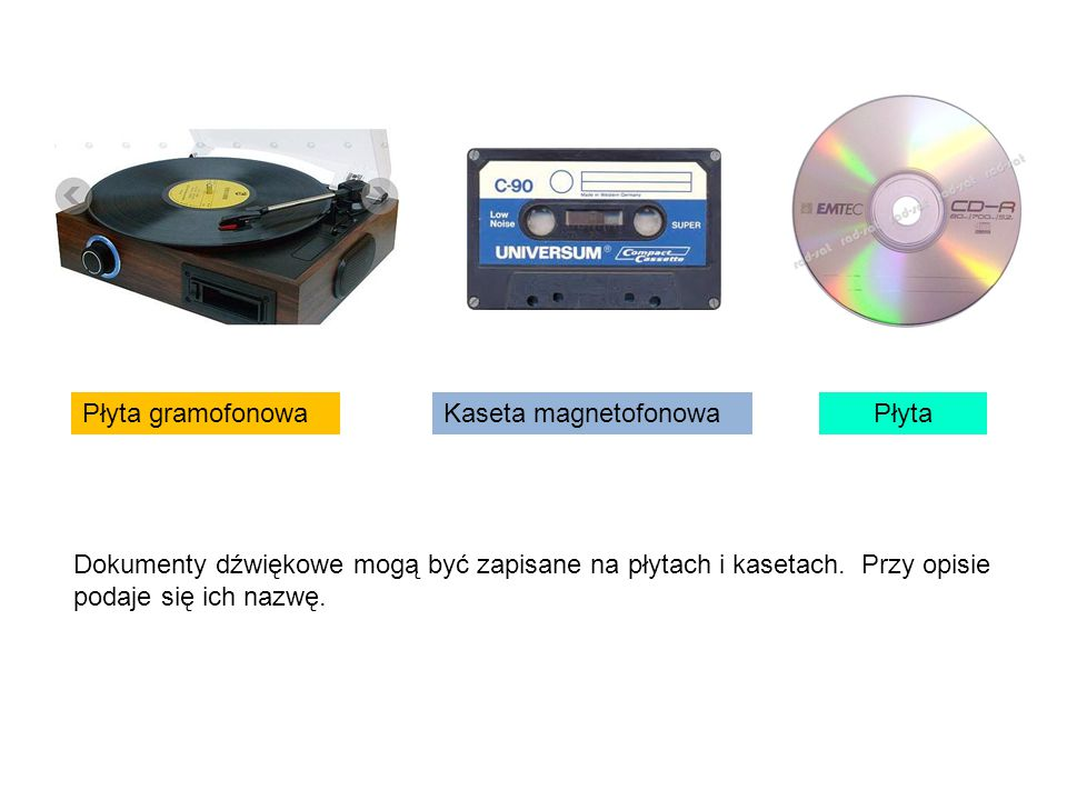 Płyta gramofonowa Kaseta magnetofonowa. Płyta.