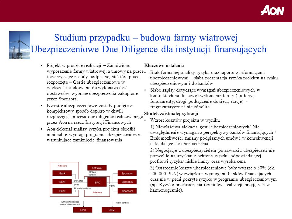 Studium przypadku – budowa farmy wiatrowej Ubezpieczeniowe Due Diligence dla instytucji finansujących