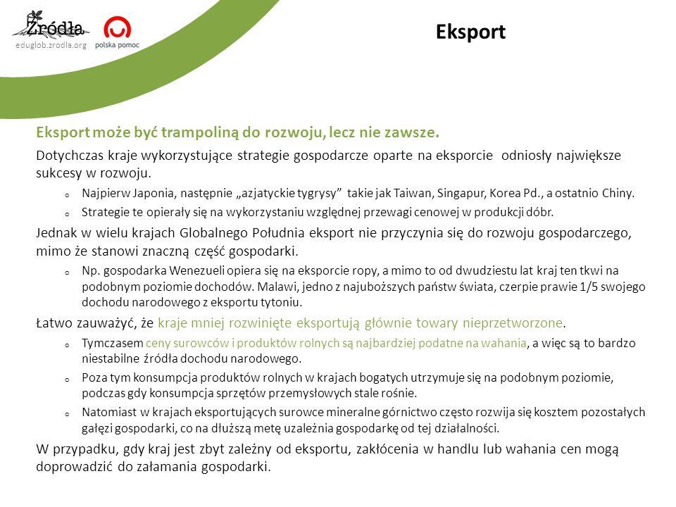 Eksport Eksport może być trampoliną do rozwoju, lecz nie zawsze.