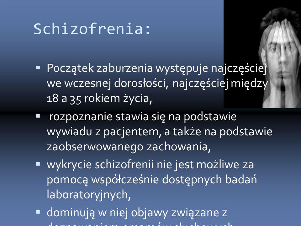 Schizofrenia: Początek zaburzenia występuje najczęściej we wczesnej dorosłości, najczęściej między 18 a 35 rokiem życia,