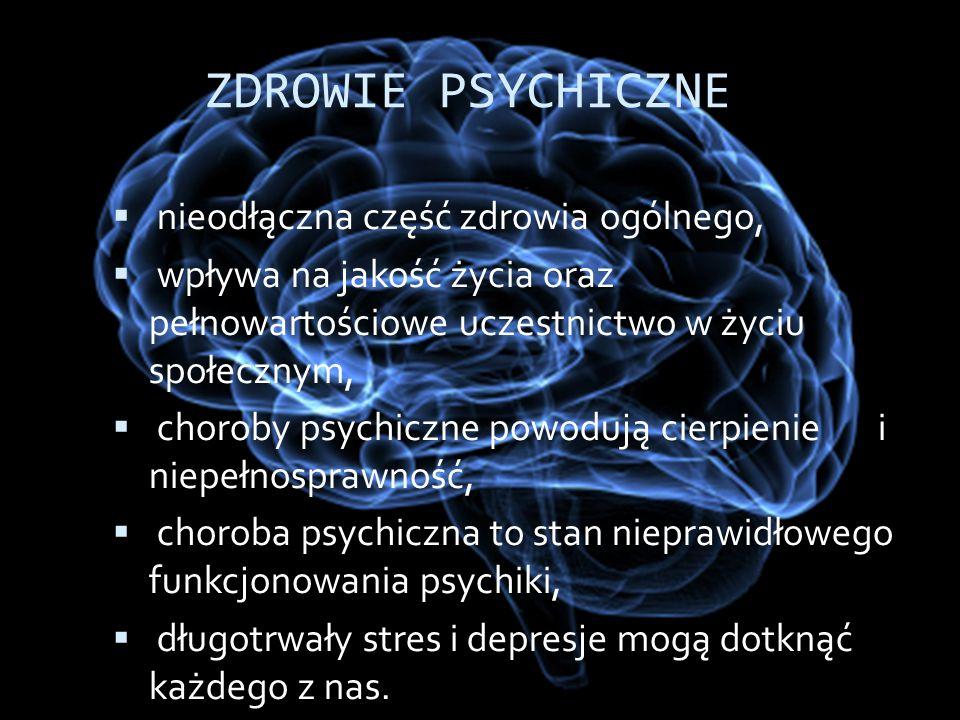 ZDROWIE PSYCHICZNE nieodłączna część zdrowia ogólnego,