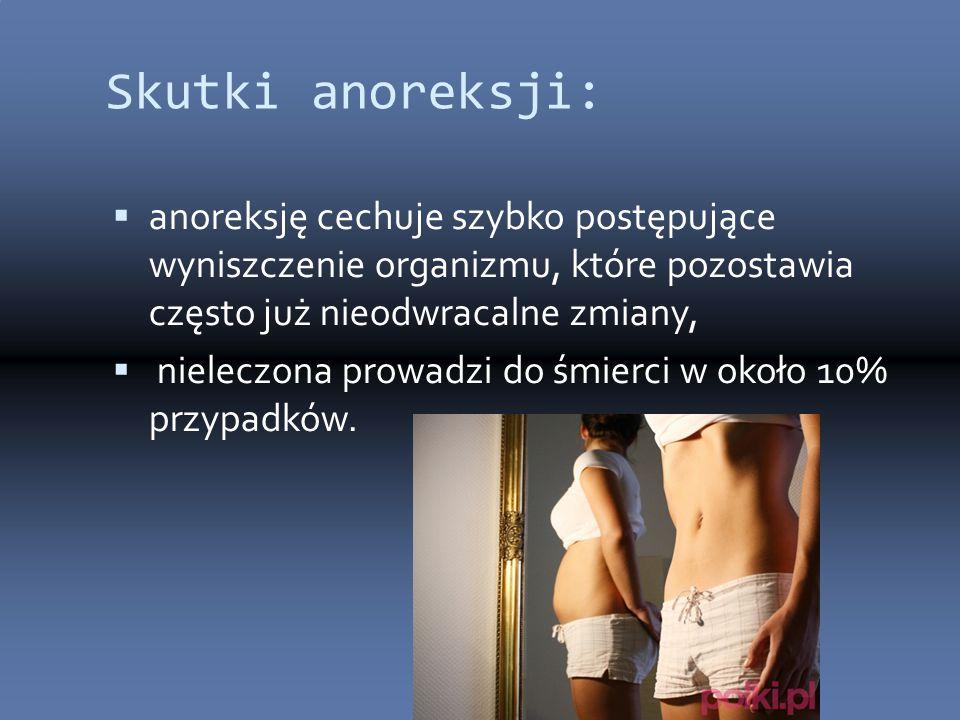 Skutki anoreksji: anoreksję cechuje szybko postępujące wyniszczenie organizmu, które pozostawia często już nieodwracalne zmiany,