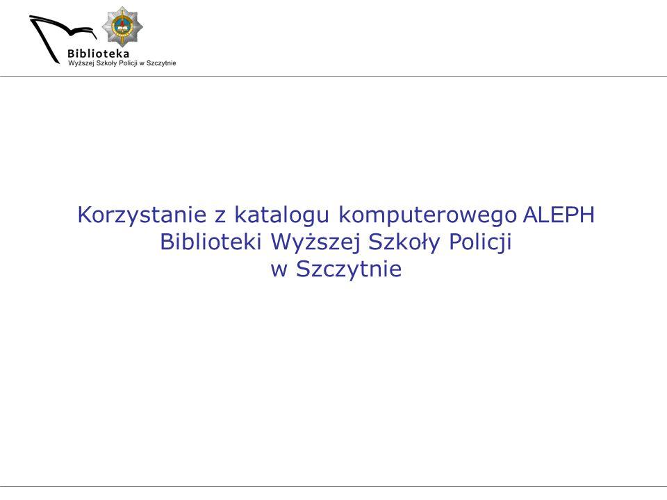 Korzystanie z katalogu komputerowego ALEPH