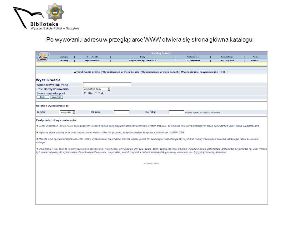 Po wywołaniu adresu w przeglądarce WWW otwiera się strona główna katalogu: