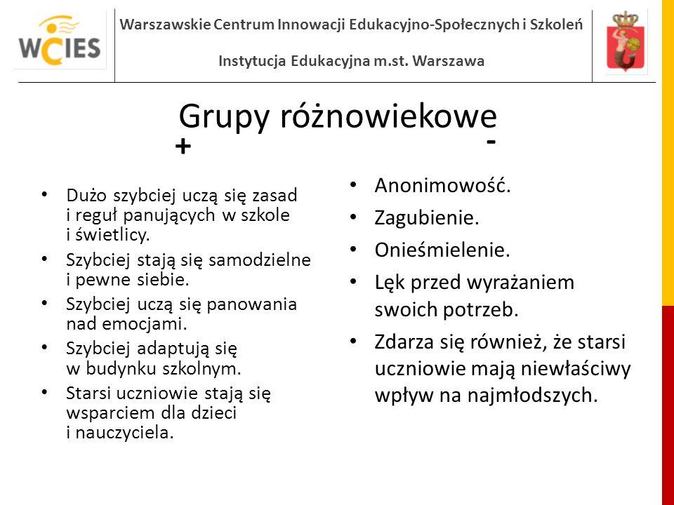 Grupy różnowiekowe + - Anonimowość. Zagubienie. Onieśmielenie.