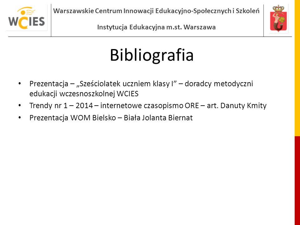 """Bibliografia Prezentacja – """"Sześciolatek uczniem klasy I – doradcy metodyczni edukacji wczesnoszkolnej WCIES."""